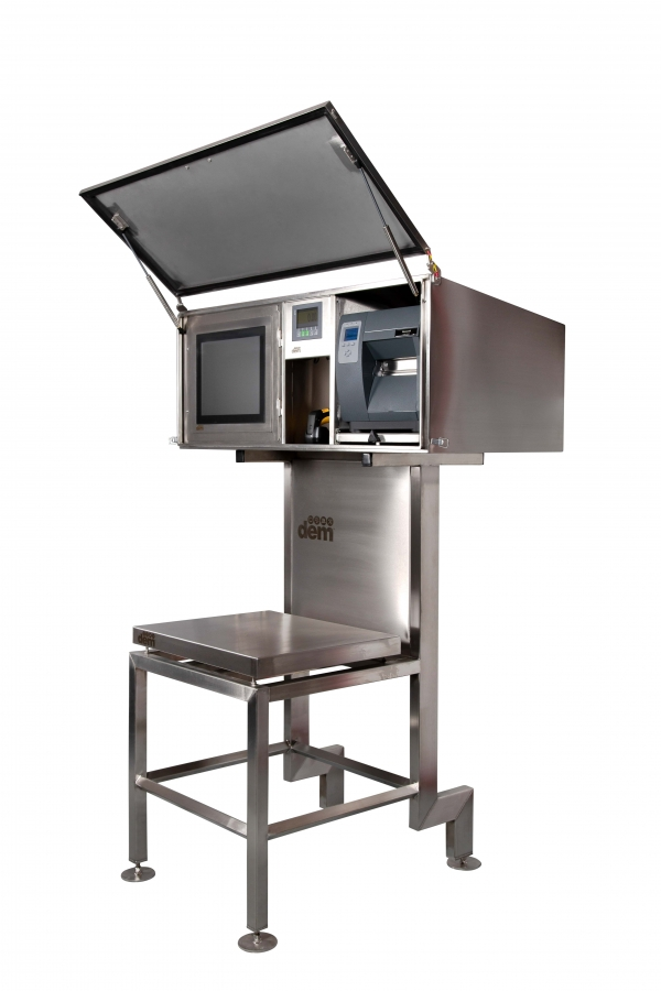 weighing and labelling machine for food industry